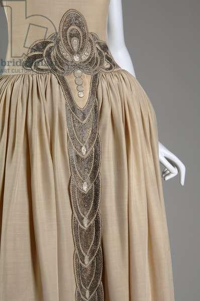 Robe de Style, 1927 (front oblique, partial view of waist), Silk moiré, glass beads, pearls, metallic thread, Jeanne Lanvin, France