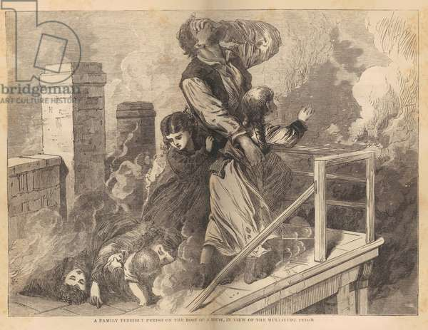 A family trapped on the roof of a house during the Chicago Fire of 1871, from 'Great Fires in Chicago and the West' by Rev. E. J. Goodspeed, c.1871 (wood engraving)
