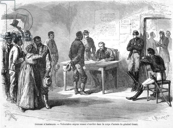 Negro volunteers enrolling in General Grant's Army Corps, illustration from 'Le Monde Illustre', 1863 (engraving)