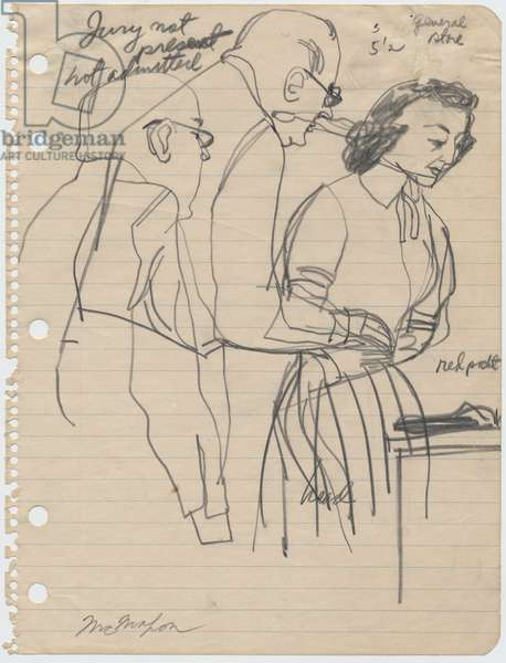 Mrs Bryant and her Lawyer, 1955 (pencil on paper)
