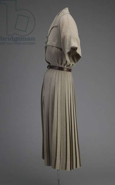 Day dress, 1948 (side view), Wool, plastic, Christian Dior New York.