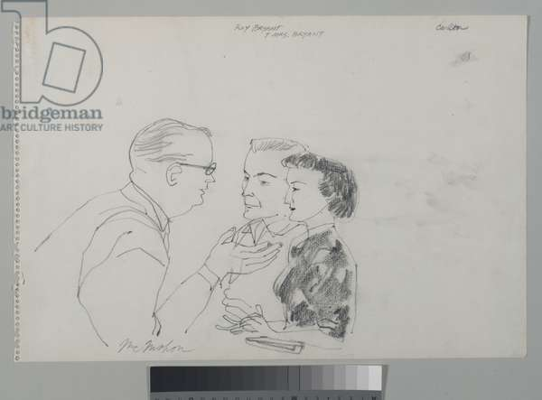Roy Bryant and Mrs. Bryant with their lawyer, 1955 (pencil on paper)