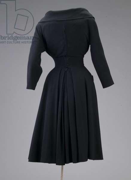 Dress, 1947 (back oblique view), Wool crepe and silk velvet, Christian Dior