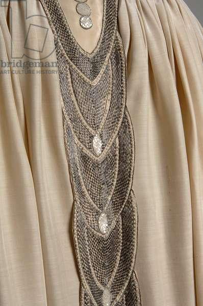 Robe de Style, 1927 (front oblique, detail view of waist), Silk moiré, glass beads, pearls, metallic thread, Jeanne Lanvin, France