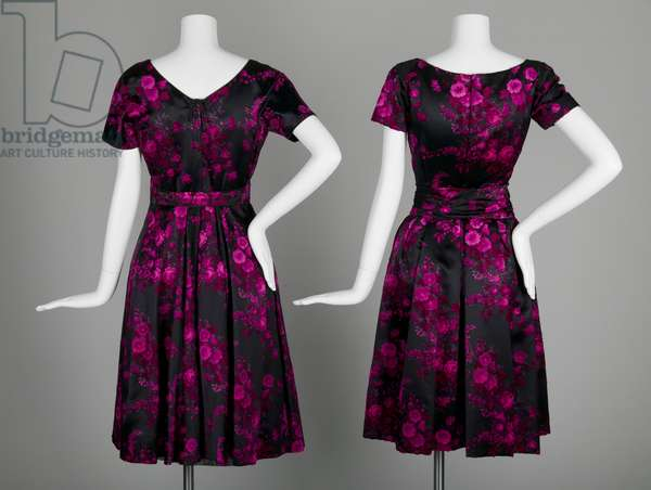 Evening dresses, c.1953, Silk velour, Christian Dior, France, and Sophie, United States