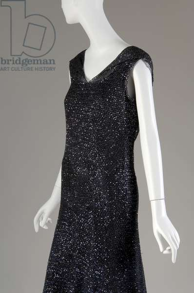"""Evening dress, 1931 (front oblique partial view), Gabrielle """"Coco"""" Chanel, France Crocheted silk, sequins"""