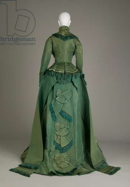 Wedding dress, 1874 (back view), Silk satin, taffeta, Maker unknown
