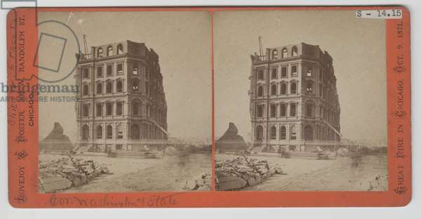 Stereograph of view of the First National Bank after the Chicago Fire of 1871 (b/w photo)