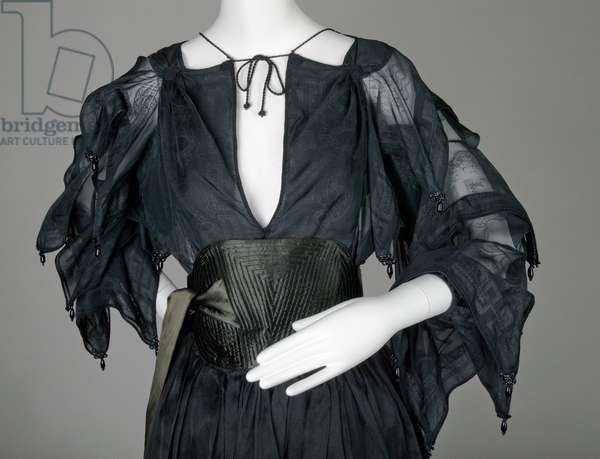 Evening dress, c.1979 (partial view), Silk organza, satin and cord, Zandra Rhodes, England