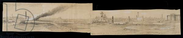 Northern district from the Erie Street Bridge, looking east, during the Chicago Fire of 1871 (pencil & chalk on paper)
