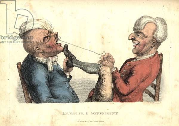 Laughter and Experiment, from 'The Passions Humourously Delineated', published 1810 (coloured engraving)