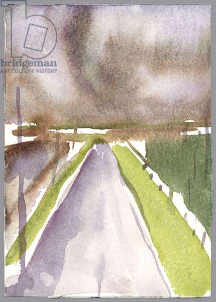 Storm on route, 1995 (watercolour)