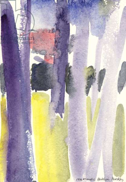 Trees in a garden, 1997 (watercolour)