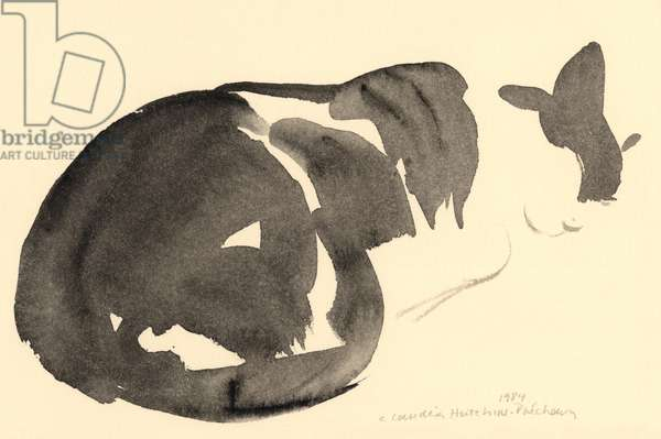 Sleeping cat, 1984 (watercolour)