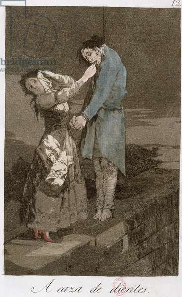 Out hunting for teeth, plate 12 of 'Los caprichos', late 18th century (coloured etching) (see also 81631)