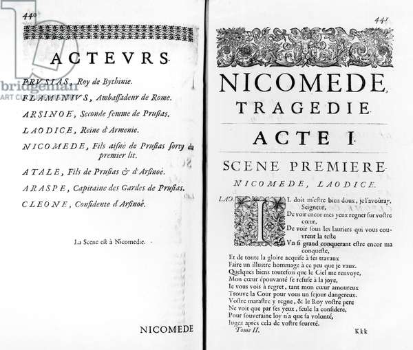 Page of the first act of 'Nicomede' by Pierre Corneille (1606-84) (engraving) (b/w photo)