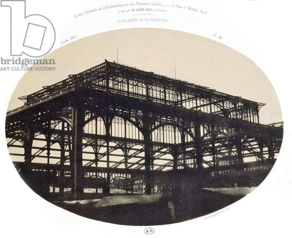 The Construction of the Halles central market, from 'Revue generale de l'architecture et des travaux publics', 1856 (photo litho)