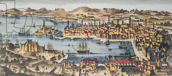 Marseille at the End of the 17th Century (coloured engraving)