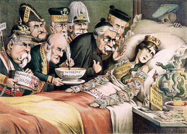 'The Agony of a Martyr', caricature relating to a Spanish economic crisis, 1892 (colour litho)