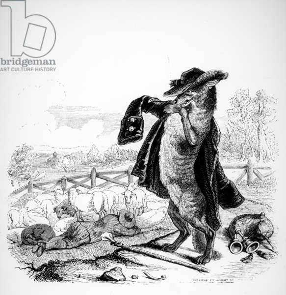 The Wolf turned Shepherd, illustration for 'Fables' of La Fontaine (1621-95), published by H. Fournier Aine, 1838 (engraving)