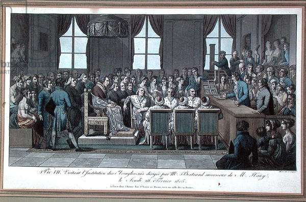 Pope Pius VII visiting l'Institution des Aveugles-nes (Institution for Blind) in Paris, headed by Mr Bertrand, successor of Valentin Hauy (1745-1822), 28th February 1805 (colour engraving)