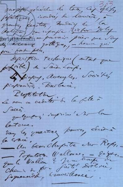 Page 303 of Baudelaire's pamphlet 'Pauvre Belgique' describing his trip to Namur, 1864 (ink on paper)