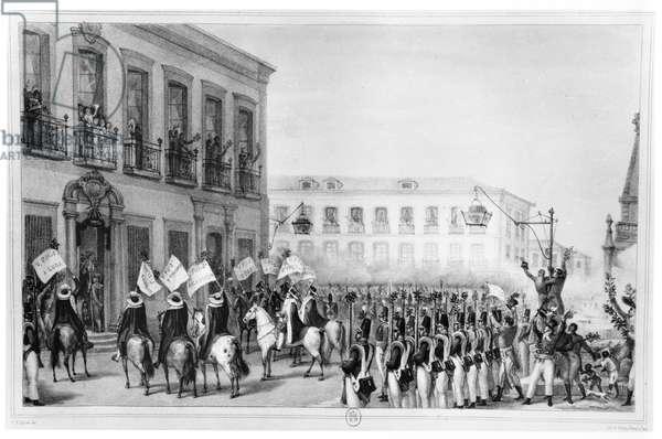 The Acclamation of Pedro I (1798-1834) Emperor of Brazil, Rio de Janeiro, 7th April 1831, illustration from 'Voyage Pittoresque et Historique au Bresil', Paris, 1835 (litho) (b/w photo)