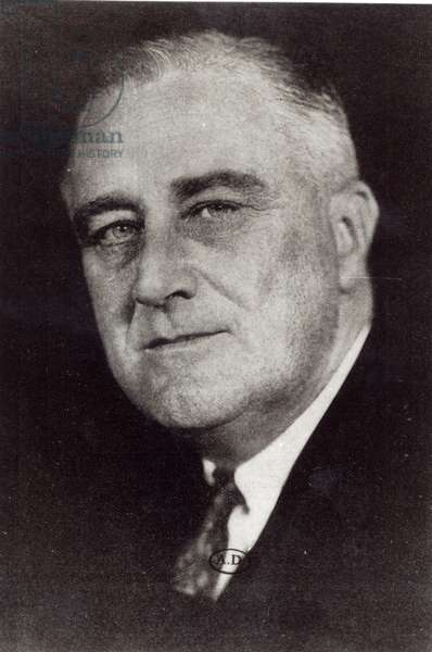 Franklin Delano Roosevelt (1882-1945) 32nd president of the United States (1933-45) (b/w photo)