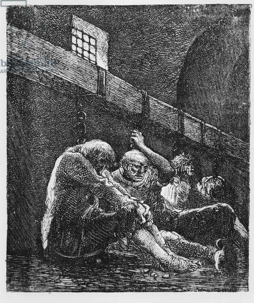 Jean Valjean in Prison, Illustration from 'Les Miserables', by Victor Hugo, 1865 (engraving)