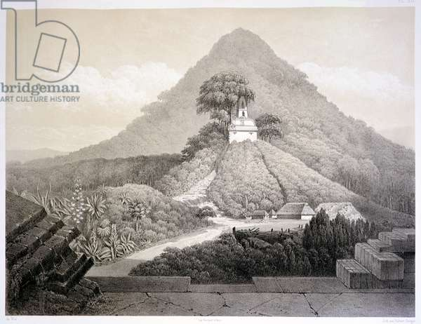 Picturesque view at the Temple of the Cross, Palenque, plate 20 from 'Ancient Monuments of Mexico', engraved by Hubert Clerget (1818-99) 1866 (litho)