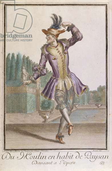 Du Moulin in a Peasant's Costume for a ballet at L'Opera, published by Mariette, late 17th century (coloured engraving)