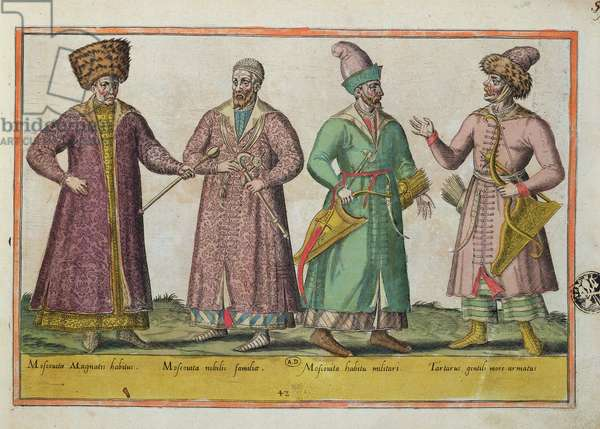 Muscovite and Tartar costume (coloured engraving)