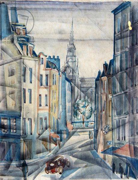 View of Notre-Dame from the Place Maubert, c.1930 (w/c on paper)