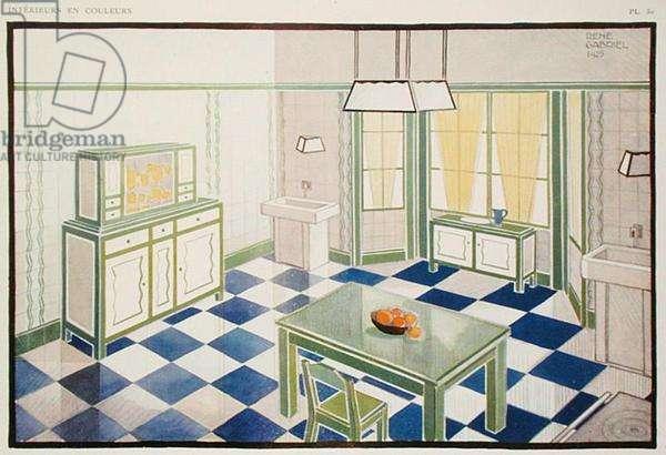 Kitchen design, plate 30 from the catalogue of 'L'Exposition Internationale des Arts Decoratifs de Paris', 1925 (colour litho)