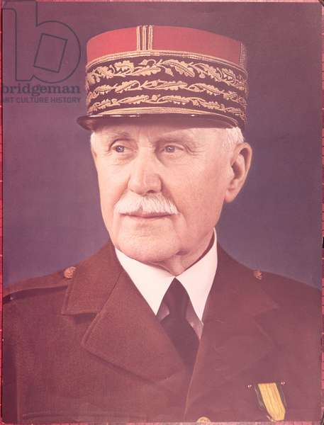 Official portrait of Marshal Petain (1856-1951), c.1941 (colour litho)