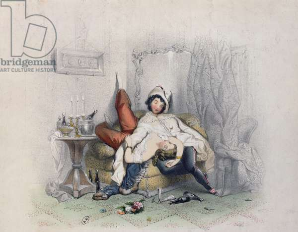 'Champagne & Love', an amorous couple fallen asleep after their sixth bottle of champagne, engraved by Bettannier Freres, Paris, 1852 (colour litho)
