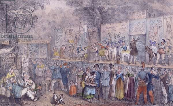 The Circus Parade at Saint-Cloud, mid 19th century (colour litho)