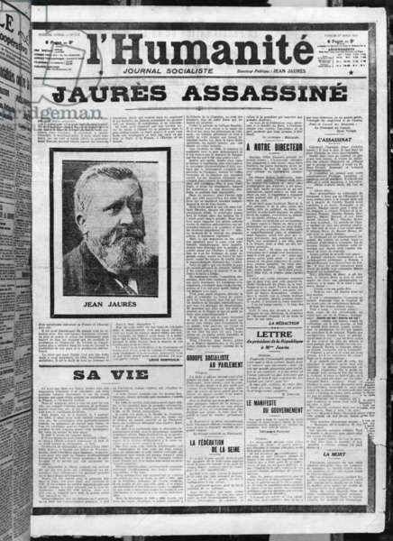 Jaures assassinated, from 'L'Humanite', 1st August 1914 (photolitho) (b/w photo)