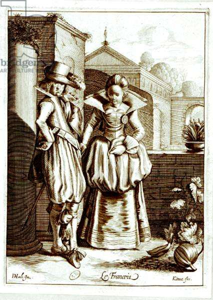 'Le Francois', illustration depicting a couple in French costume (engraving) (b/w photo)
