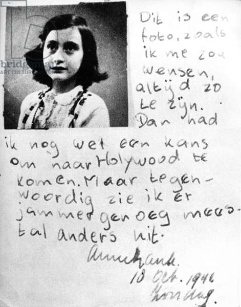 Photograph and writing of Anne Frank, 1942 (b/w photo)