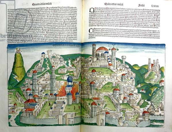 The Revolted City of Jerusalem destroyed by Emperor Titus, from the Nuremberg Chronicle by Hartmann Schedel (1440-1514) printed in 1493 (woodcut)