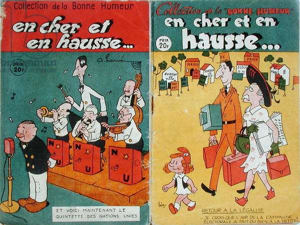 Caricatures of the United Nations and of the French Government, c.1945-46 (colour litho)