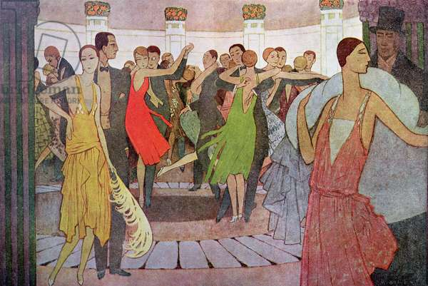 Paris by Night, a dance club in Montmartre, from 'L'Amour et l'Esprit Gaulois' by Edmond Haraucourt, c.1925 (colour engraving)