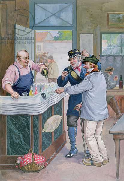 The Aperitif Hour at the Cafe, postman playing dice with a peasant, c.1920 (colour litho)