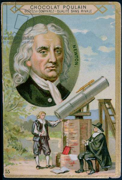 Promotional card for 'Poulain' chocolate with an illustration of Sir Isaac Newton (1642-1727) and his telescope, 1900 (colour litho)