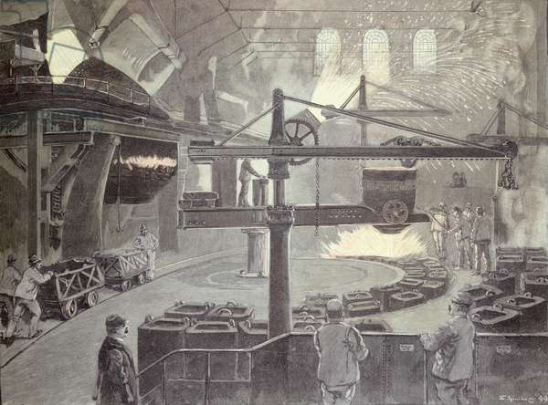 The Thomas Steelworks at Neunkirchen, Saarland, Germany (engraving)