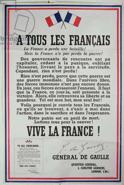 First poster for the 18th June 1940 address by General Charles de Gaulle (1890-1970) 1940 (colour litho)