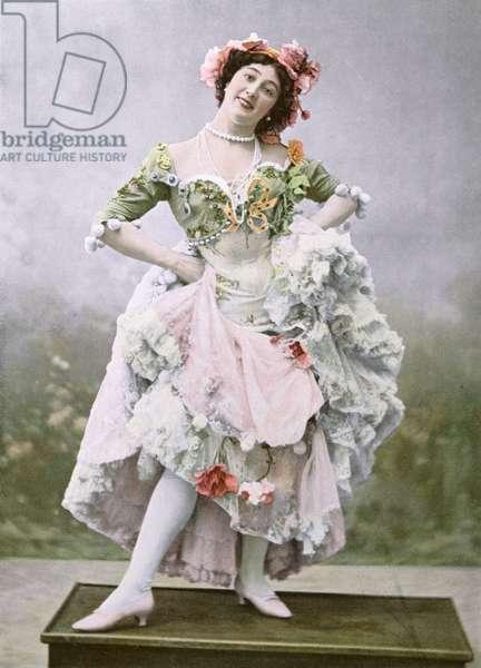 Portrait of 'La Belle Otero' as Mercedes in 'Une Fete a Seville', Theatre Marigny, Paris, 1900 (colour photograph)