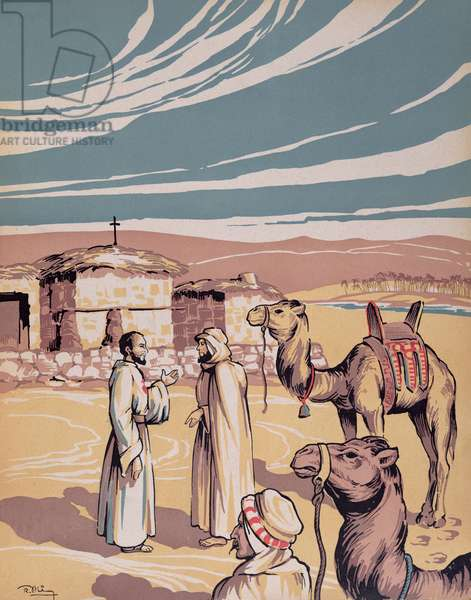 Father Charles Eugene de Foucauld (1858-1916) Establishing his Residence in Beni-Abbes, 28th October 1901, illustration from 'Le Pere de Foucauld' by Duparc, c.1940 (litho)