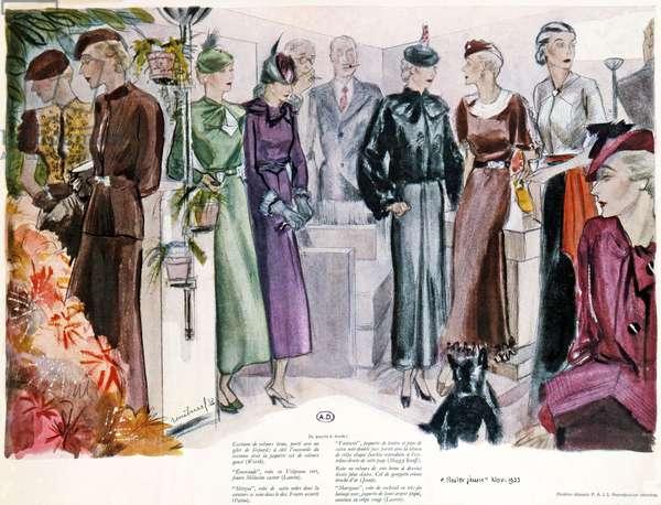 Older female fashions, plate from 'Rester Jeune' magazine, November 1933 (colour litho)